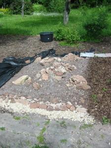 Steingarten mit Erde befüllt